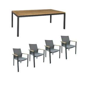 """Jati&Kebon Gartenmöbel-Set mit Stuhl """"Beja"""" und Tisch 160x90 cm""""Lugo"""", Alu anthrazit, Tischplatte Teak"""