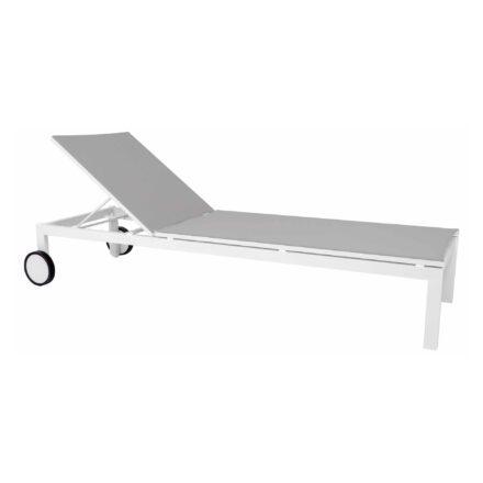 "Jati&Kebon ""Ibiza"" Sonnenliege, Gestell Aluminium weiß, Bespannung Textilgewebe hellgrau"