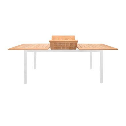 """Jati&Kebon """"Mallorca"""" Ausziehtisch, 200-257x100 cm, Gestell Aluminium weiß mit Teakholzplatte"""