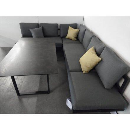 "Jati&Kebon ""Rao"" Loungeset mit Dining-Tisch, Gestelle Alu eisengrau, Polster Natté Charcoal chiné, Tischplatte HPL Granit dunkelgrau"