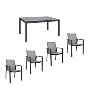 """Jati&Kebon Gartenmöbel-Set mit Stuhl """"Beja"""" und Tisch 160x90 cm """"Lugo"""", Alu anthrazit, Tischplatte HPL"""