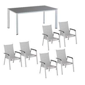 """Kettler Gartenmöbel-Set mit Stapelstuhl """"Basic Plus Padded"""" und Gartentisch """"Edge"""" 220x95 cm, Alu silber, Tischplatte Kettalux anthrazit (Schieferoptik)"""