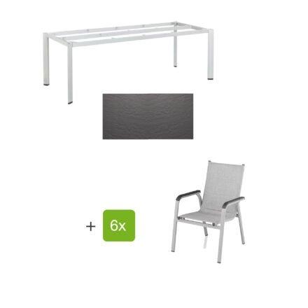 """Kettler Gartenmöbel-Set mit Stapelstuhl """"Basic Plus Padded"""" und Gartentisch """"Edge"""" 220x95 cm, Alu silber, Tischplatte Kettalux anthrazit schieferoptik"""
