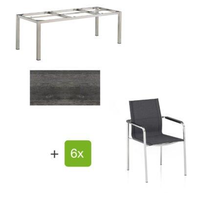 """Kettler Gartenmöbel-Set mit Stapelsuhl """"Feel"""" und Tisch """"Cubic"""", Gestelle Edelstahl, Tischplatte HPL Pinie anthrazit"""