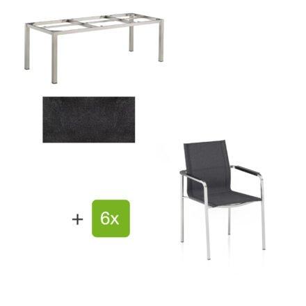 """Kettler Gartenmöbel-Set mit Stapelsuhl """"Feel"""" und Tisch """"Cubic"""", Gestelle Edelstahl, Tischplatte HPL Stahl"""