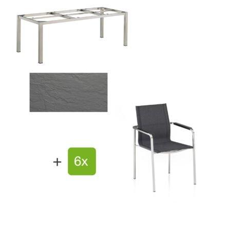 """Kettler Gartenmöbel-Set mit Stapelsuhl """"Feel"""" und Tisch """"Cubic"""", Gestelle Edelstahl, Tischplatte Kettalux anthrazit-grau (Schieferoptik)"""