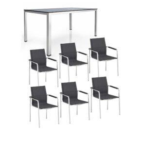 """Kettler Gartenmöbel-Set mit Stapelsuhl """"Feel"""" und Tisch """"Cubic"""", Gestelle Edelstahl, Tischplatte HPL"""