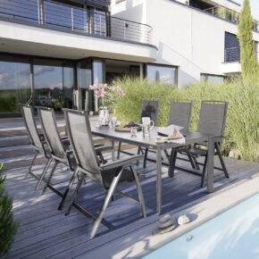 """Kettler Gartenmöbel-Set mit """"Forma II"""" Klappsessel und """"Edge"""" Gartentisch 220x95 cm, Alu anthrazit, Sitzfläche graphit, Tischplatte Kettalux"""