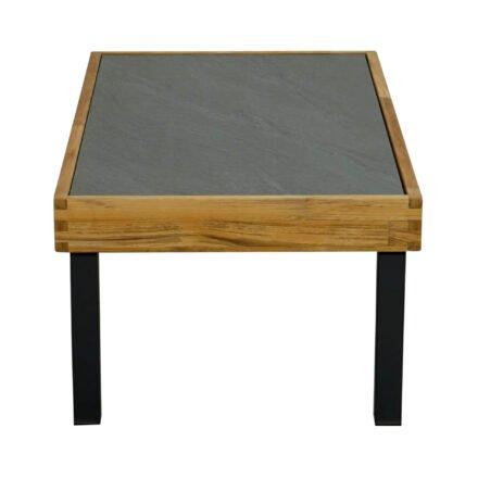 """Ploß Couchtisch """"Skagen"""", Gestell Aluminium anthrazit mit Teakholz natur (gebürstet), Tischplatte Keramik grau, 125x65 cm"""