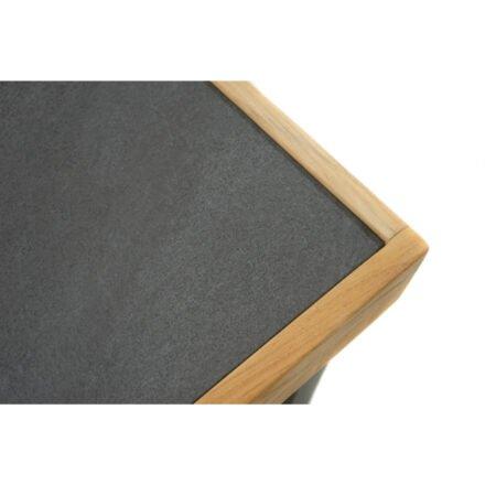 """Ploß Couchtisch """"Skagen"""", Gestell Aluminium anthrazit mit Teakholz natur (gebürstet), Tischplatte Keramik grau"""