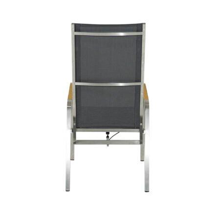 """Ploß Hochlehner move """"Columbia"""", Gestell Edelstahl gebürstet, Sitzfläche Textilgewebe grau, Armlehnen mit Teakholz"""