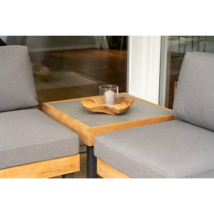 """Ploß Eck-Couchtisch """"Skagen"""", Gestell Aluminium anthrazit mit Teakholz natur (gebürstet), Tischplatte Keramik grau, 65x65 cm"""