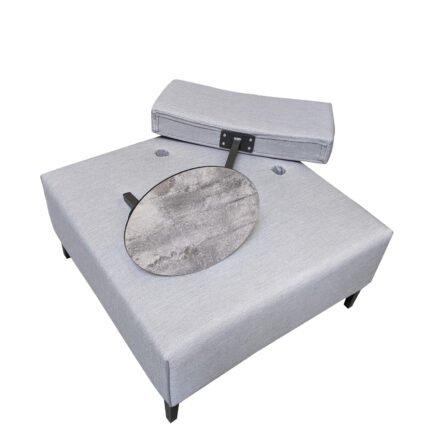 """Ploß """"Luxor"""" Multifunktionssessel/Loungesessel, Gestell Aluminium anthrazit matt, Polster grau, Tischplatte HPL"""