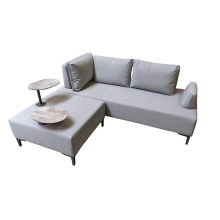 "Ploß ""Luxor"" Multifunktionssofa & -sessel, Gestell Aluminium anthrazit matt, Polster grau, Tischplatte HPL"