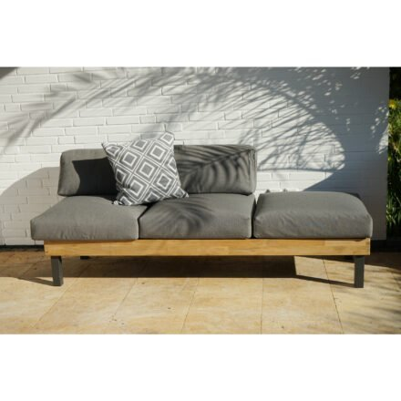 """Ploß Design-Sofa """"Skagen"""", Gestell Aluminium anthrazit mit Teakholz natur (gebürstet), Polster grau, ohne Dekokissen"""