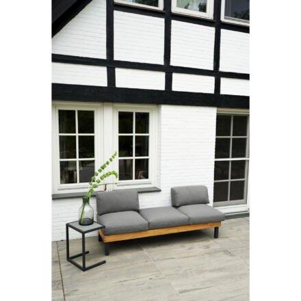 """Ploß Design-Sofa """"Skagen"""", Gestell Aluminium anthrazit mit Teakholz natur (gebürstet), Polster grau, Beistelltisch """"Skagen"""""""