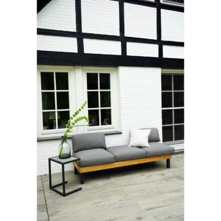 """Ploß Design-Sofa """"Skagen"""", Gestell Aluminium anthrazit mit Teakholz natur (gebürstet), Polster grau, ohne Dekokissen, Beistelltisch """"Skagen"""""""