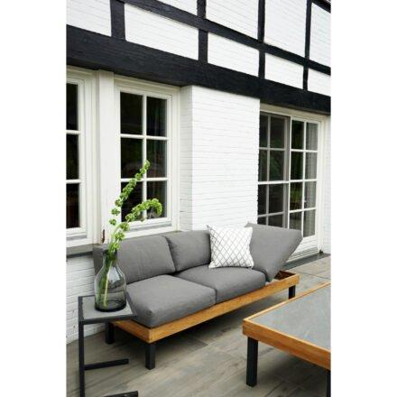 """Ploß Serie """"Skagen"""", Sofa mit Gestell Aluminium anthrazit & Teakholz natur (gebürstet), Polster grau, ohne Dekokissen, Beistelltisch & Couchtisch, Platte Keramik"""