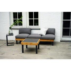 """Ploß Loungeset """"Skagen"""", Sofa mit Gestell Aluminium anthrazit & Teakholz natur (gebürstet), Polster grau, ohne Dekokissen, Beistelltisch & Eck-Couchtisch, Platte Keramik"""