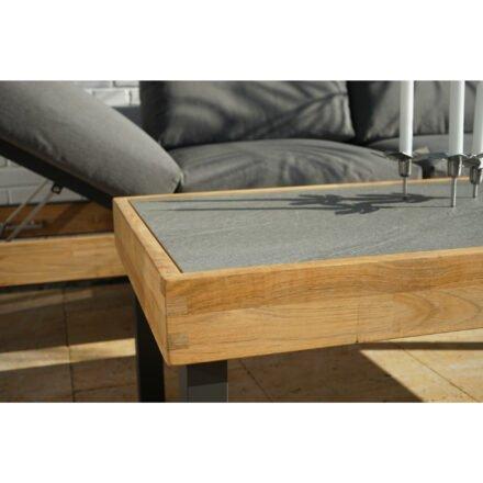 """Ploß Serie """"Skagen"""", Sofa & Couchtisch, Gestelle Aluminium anthrazit & Teakholz natur (gebürstet), Polster grau, Tischplatte Keramik"""
