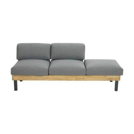"Ploß Design-Sofa ""Skagen"", Gestell Aluminium anthrazit mit Teakholz natur (gebürstet), Polster grau"