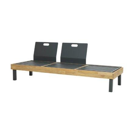 "Ploß Design-Sofa ""Skagen"", Gestell Aluminium anthrazit mit Teakholz natur (gebürstet)"