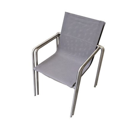 "Ploß ""Amado"" Stapelsessel, Gestell Edelstahl, Sitzfläche Textilgewebe taupe"