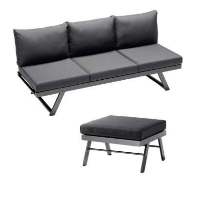 """Sieger Loungeserie """"Auckland"""", Gestell Aluminium eisengrau, Kissenfarbe grau"""