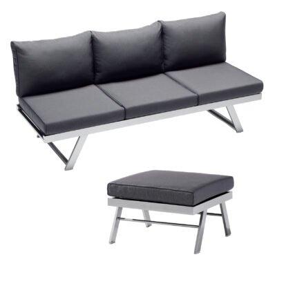 "Sieger Loungeserie ""Auckland"", Gestell Aluminium graphit, Kissenfarbe grau"