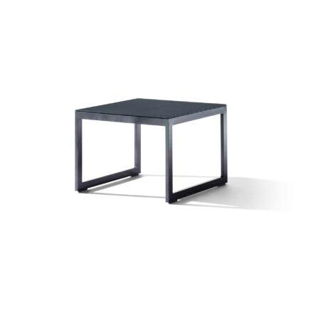 """Sieger """"Havanna"""" Loungetisch 60x44x60 cm, Alu eisengrau, Glasplatte Spraystone eisengrau"""