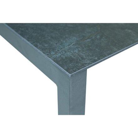 "SIT Mobilia ""Etna"" Ausziehtisch, Gestell Aluminium eisengrau, Tischplatte Dekton Laos, Detail"