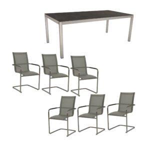 """Stern Gartenmöbel-Set mit Freischwinger """"Evoee"""" und Gartentisch 200x100cm, Gestelle Edelstahl, Tischplatte Dekton Lava anthrazit"""