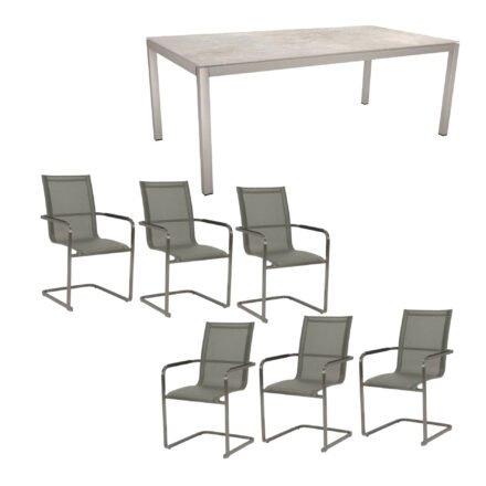 """Stern Gartenmöbel-Set mit Freischwinger """"Evoee"""" und Gartentisch 200x100cm, Gestelle Edelstahl, Tischplatte Dekton Lava hellgrau"""