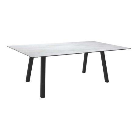 """Stern Tisch """"Interno"""", Größe 180x100cm, Alu anthrazit, Vierkantrohr, Tischplatte HPL Vintage Stone"""