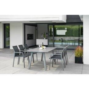 """Stern Gartenmöbel-Set mit Gartenstuhl """"Kari"""" und Tisch """"Interno"""", Vierkantrohr, 220x100cm, Tischplatte HPL"""