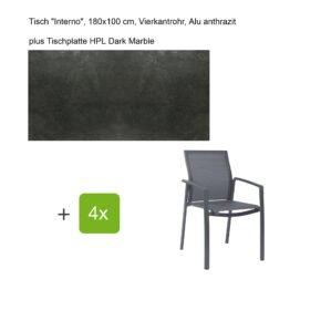 """Stern Gartenmöbel-Set mit Stapelsessel """"Kari"""", Textilen karbon, und Gartentisch """"Interno"""", Größe 180x100cm, Gestelle Alu anthrazit, Tischplatte HPL Dark Marble"""