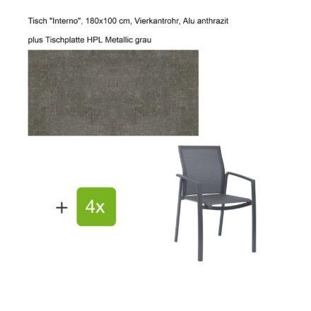 """Stern Gartenmöbel-Set mit Stapelsessel """"Kari"""", Textilen karbon, und Gartentisch """"Interno"""", Größe 180x100cm, Gestelle Alu anthrazit, Tischplatte HPL Metallic grau"""