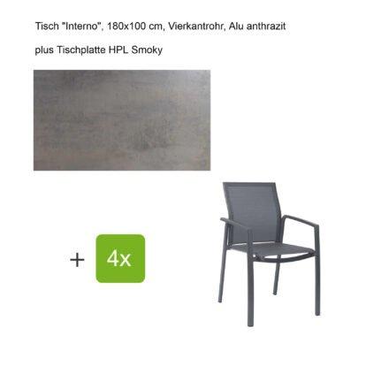 """Stern Gartenmöbel-Set mit Stapelsessel """"Kari"""", Textilen karbon, und Gartentisch """"Interno"""", Größe 180x100cm, Gestelle Alu anthrazit, Tischplatte HPL Smoky"""