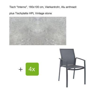 """Stern Gartenmöbel-Set mit Stapelsessel """"Kari"""", Textilen karbon, und Gartentisch """"Interno"""", Größe 180x100cm, Gestelle Alu anthrazit, Tischplatte HPL Vintage stone"""