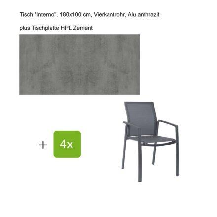 """Stern Gartenmöbel-Set mit Stapelsessel """"Kari"""", Textilen karbon, und Gartentisch """"Interno"""", Größe 180x100cm, Gestelle Alu anthrazit, Tischplatte HPL Zement"""
