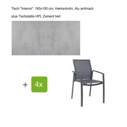 """Stern Gartenmöbel-Set mit Stapelsessel """"Kari"""", Textilen karbon, und Gartentisch """"Interno"""", Größe 180x100cm, Gestelle Alu anthrazit, Tischplatte HPL Zement hell"""