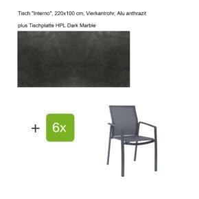 """Stern Gartenmöbel-Set mit Stapelsessel """"Kari"""", Textilen karbon, und Gartentisch """"Interno"""", Größe 220x100cm, Gestelle Alu anthrazit, Tischplatte HPL Dark Marble"""