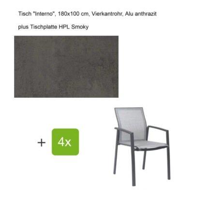 """Stern Gartenmöbel-Set mit Stapelsessel """"Kari"""", Textilen silber, und Gartentisch """"Interno"""", Größe 180x100cm, Gestelle Alu anthrazit, Tischplatte HPL Smoky"""