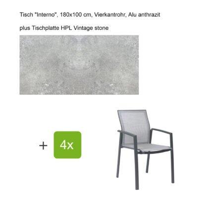 """Stern Gartenmöbel-Set mit Stapelsessel """"Kari"""", Textilen silber, und Gartentisch """"Interno"""", Größe 180x100cm, Gestelle Alu anthrazit, Tischplatte HPL Vintage stone"""