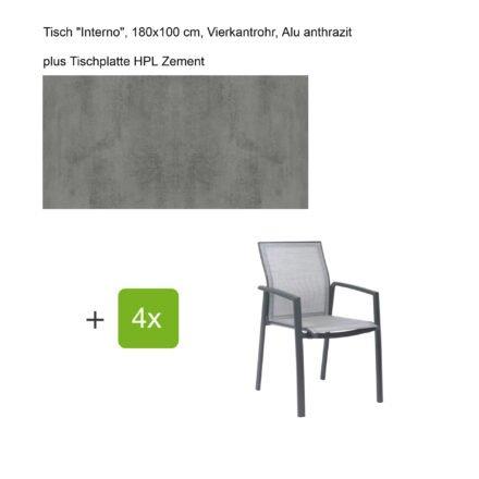 """Stern Gartenmöbel-Set mit Stapelsessel """"Kari"""", Textilen silber, und Gartentisch """"Interno"""", Größe 180x100cm, Gestelle Alu anthrazit, Tischplatte HPL Zement"""