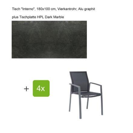 """Stern Gartenmöbel-Set mit Stapelsessel """"Kari"""", Textilen silbergrau, und Gartentisch """"Interno"""", Größe 180x100cm, Gestelle Alu graphit, Tischplatte HPL Dark Marble"""