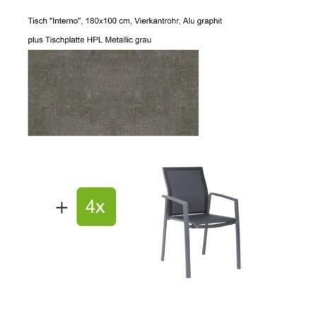 """Stern Gartenmöbel-Set mit Stapelsessel """"Kari"""", Textilen silbergrau, und Gartentisch """"Interno"""", Größe 180x100cm, Gestelle Alu graphit, Tischplatte HPL Metallic grau"""