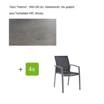 """Stern Gartenmöbel-Set mit Stapelsessel """"Kari"""", Textilen silbergrau, und Gartentisch """"Interno"""", Größe 180x100cm, Gestelle Alu graphit, Tischplatte HPL Smoky"""