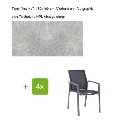 """Stern Gartenmöbel-Set mit Stapelsessel """"Kari"""", Textilen silbergrau, und Gartentisch """"Interno"""", Größe 180x100cm, Gestelle Alu graphit, Tischplatte HPL Vintage stone"""