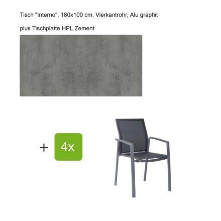 """Stern Gartenmöbel-Set mit Stapelsessel """"Kari"""", Textilen silbergrau, und Gartentisch """"Interno"""", Größe 180x100cm, Gestelle Alu graphit, Tischplatte HPL Zement"""